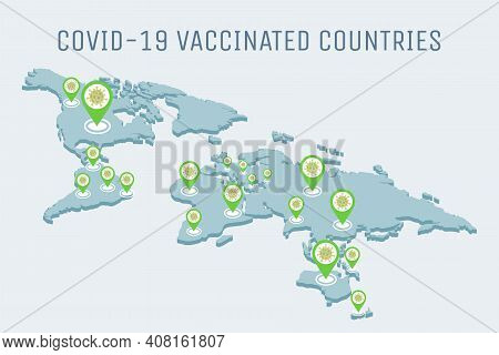 Covid-19 Vaccinated Countries Vector Flat Illustration. Global Pandemic Of Coronavirus Outbreak On E