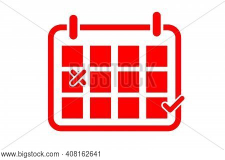 Simple Vector Red Icon, Calendar With 2 Sign, Reschedule, Isolated On White