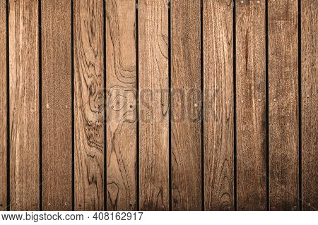 Nature Wood Texture Flooring Background, Wooden Old Surface Of Exterior Decoration. Brown Hardwood B