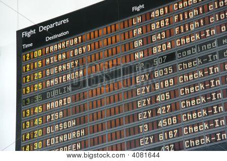 Departure board at Bristol International Airport (BRS) poster