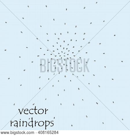 Black And White Hand Drawn Raindrops Sketch. Vector Texture Of Rain Drops From Center.