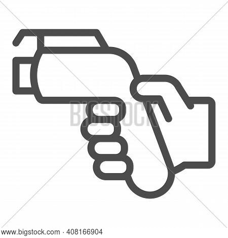 Refueling Gun In Hand Line Icon, Electric Car Concept, Gasoline Nozzle Sign On White Background, Hum
