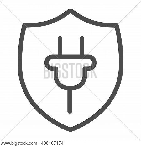 Protection Emblem And Plug Line Icon, Electric Car Concept, Protect Alternative Electrical Energy Re