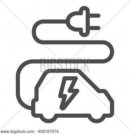 Car And Cord With Plug Line Icon, Electric Car Concept, Ecological Transport Sign On White Backgroun