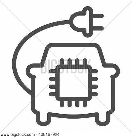 Car With Plug And Processor Chip Line Icon, Electric Car Concept, Car Circuit Board Sign On White Ba