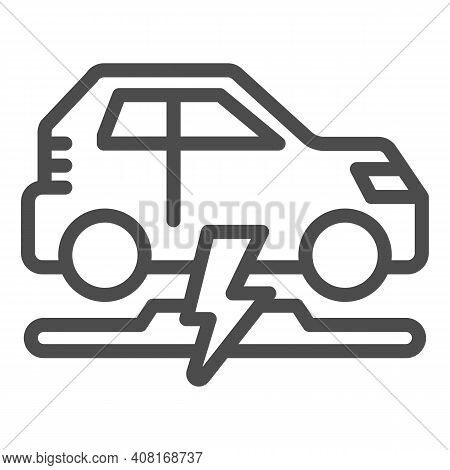 Wireless Charging Of Electric Car Line Icon, Electric Car Concept, Electric Car Charging Point Sign