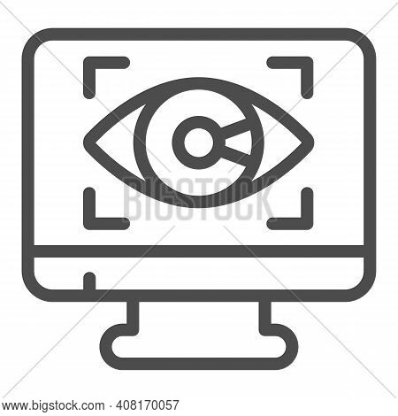 Monitor With Eye Line Icon, Web Security Concept, Cyber Eye Symbol On White Background, Application