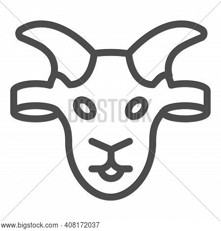 Goat Head Line Icon, Domestic Animals Concept, Domestic Goat Sign On White Background, Sheep Silhoue