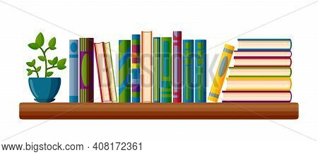 Shelf With Books And Potted Plant. Read Lover Shelf In Cartoon Style. Vector Illustration Isolated O