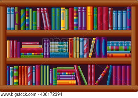 Bookcase Archive. Bestseller Bookshop In Cartoon Style. Vector Illustration Isolated On White Backgr