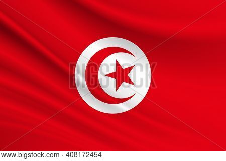 Flag Of Tunisia. Fabric Texture Of The Flag Of Tunisia.