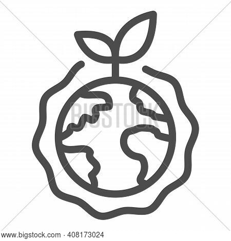 Planet With Plant And Ozone Layer Line Icon, Electric Car Concept, Green Earth Sign On White Backgro