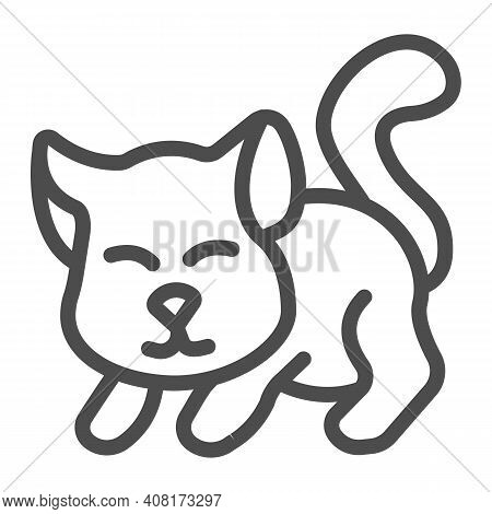 Cute Kitten Line Icon, Domestic Animals Concept, Cat Silhouette Sign On White Background, Playing Ki