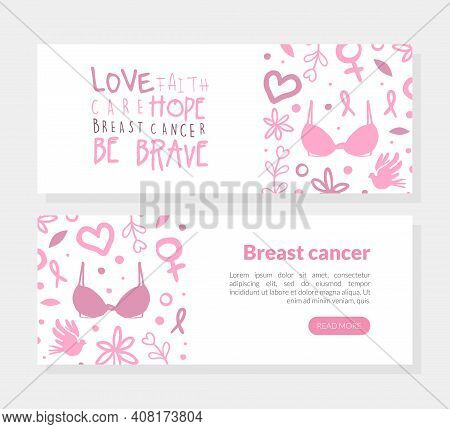 Breast Cancer Landing Page Template, Love, Faith, Care, Hope Concept, Women Support, Breast Diagnosi