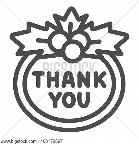 Berries And Thank You Sign Line Icon, Thanksgiving Day Concept, Berries And Sign Of Gratitude On Whi