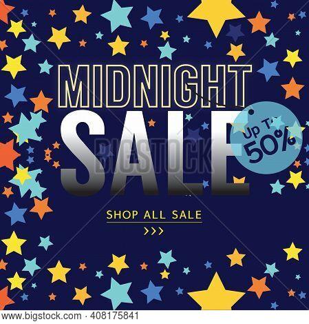 Midnight Sale Banner Advertising Promotion Vector Illustration. Eps 10