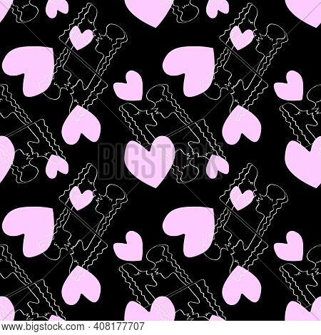 Seamless Pattern With Kissing People And Pink Hearts. Line Art, Doodle, Outline Abstract Kiss As Sym