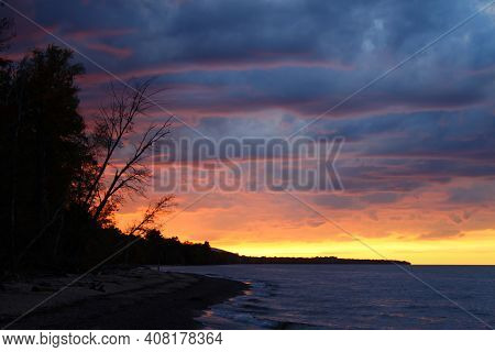 Sunset Colors Along The Beach Of Lake Superior In Northern Michigan