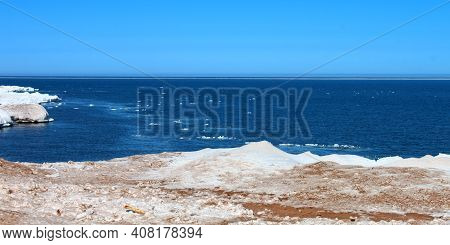 Ice And Snow Along The Shoreline Of Lake Superior In Northern Michigan