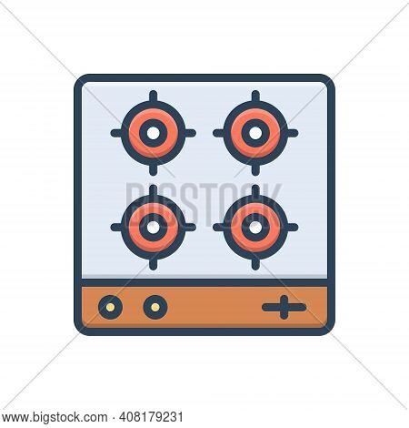 Color Illustration Icon For Stove Four-burner Fire Burner Gas Campfire Flame Appliance Domestic Dang