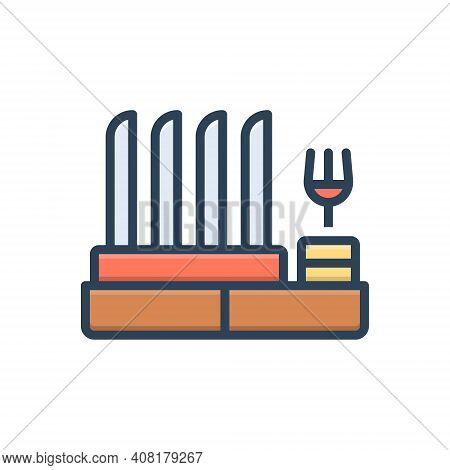 Color Illustration Icon For Dish-rack Rack Display Household Kitchen Cleaner Hanging Housework