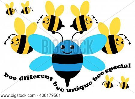 Bee Different, Bee Unique, Bee Special Conceptual Bumblebee Be Yourself Illustration with Clipping Path