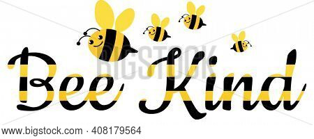 bee Family and Bee Kind Yellow and Black bee Text with Clipping Path Isolated on White Background