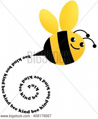 Bee Kind Bumblebee Flying Trail Yellow and Black Illustration with Clipping Path on White Background