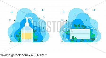 Disposable Blue Medical Mask, Medicine And Protection Concept. Hand Sanitizer, Sanitizer, Hand Soap,
