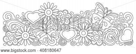 Coloring Book. Hand Drawn Doodles Illustration. Spring Or Summer Floral Vector Border