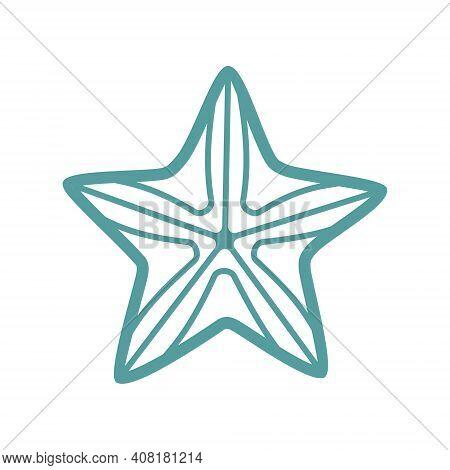 Sea Starfish Vector Single Icon, Separate Isolated Illustration