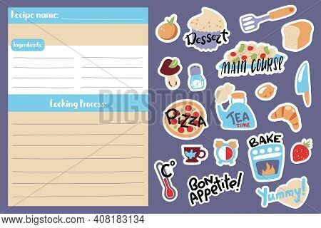 Recipe Card Template And Food Cooking Stickers. Playful Cook Book Page Vertical Format A5 Size. Kids