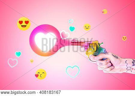 Heart social media reaction person firing colorful gun media mix