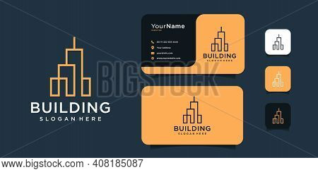 Modern Real Estate Architecture Logo Design With Business Card Template. Good For Building, Construc