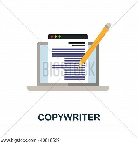 Copywriter Flat Icon. Color Simple Element From Freelance Collection. Creative Copywriter Icon For W