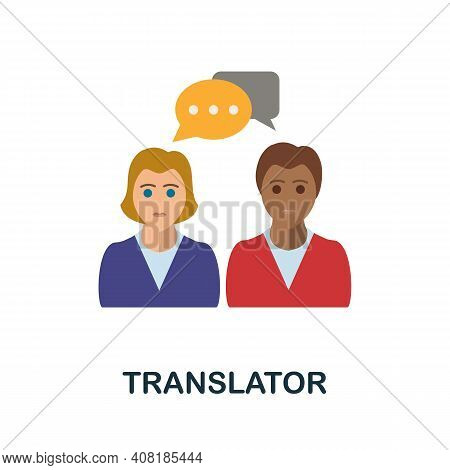 Translator Flat Icon. Color Simple Element From Freelance Collection. Creative Translator Icon For W