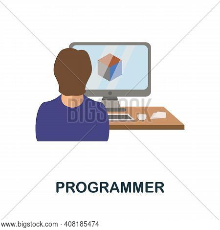 Programmer Flat Icon. Color Simple Element From Freelance Collection. Creative Programmer Icon For W