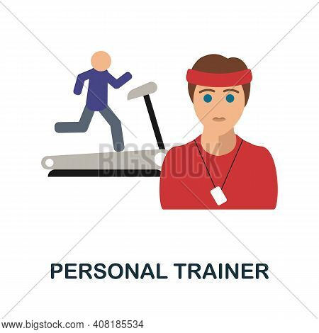 Personal Trainer Flat Icon. Color Simple Element From Freelance Collection. Creative Personal Traine