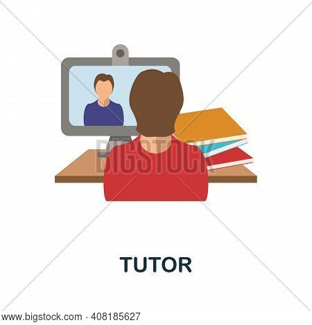 Tutor Flat Icon. Color Simple Element From Freelance Collection. Creative Tutor Icon For Web Design,