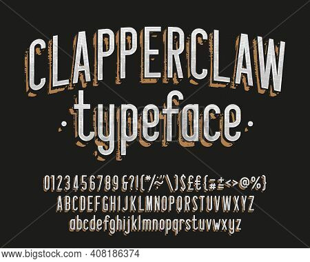 Clapperclaw Alphabet Font. Vintage Narrow Letters, Numbers And Symbols. Uppercase And Lowercase. Sto