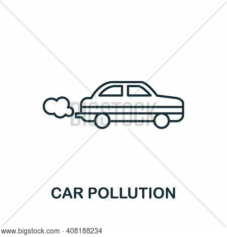Car Pollution Icon. Simple Element From Global Warming Collection. Creative Car Pollution Icon For W