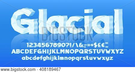 Glacial Alphabet Font. 3d Cartoon Ice Letters, Numbers And Symbols. Uppercase And Lowercase. Stock V