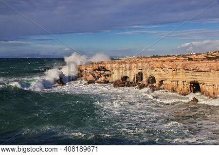 The Storm On Mediterranean Sea Close Ayia Napa, Cyprus