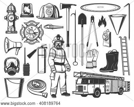 Firefighter Tools And Equipment Engraved Icons. Firefighter In Protective Uniform, Helmet And Gas Ma