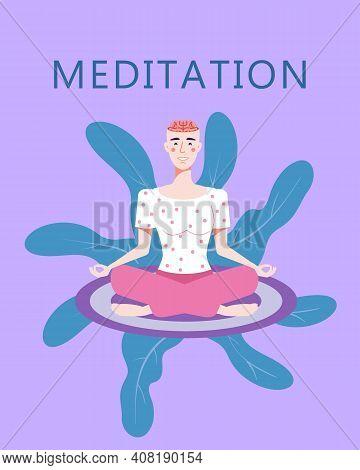 Woman Meditation In Yoga Pose. Open Brain, Relax Mental Calm Mind, Releasing Stress. Yoga Girl Illus