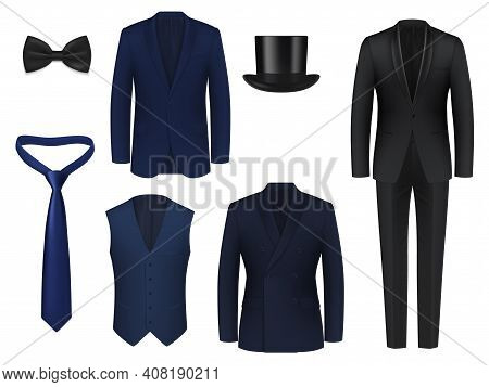 Wedding Or Dinner Mens Suit Realistic Mockup. Blue, Black Classic Tuxedo Jackets With Single, Double