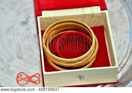 Indian Wedding Concepts. Golden Bangles Jewelry For Ladies And Girls