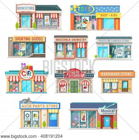 Shop And Store Building Isolated Vector Icons Of Retail Architecture. Book, Auto Parts, Gifts And Ha