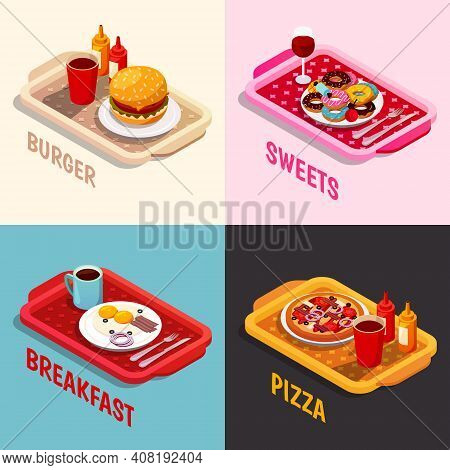 Food Cooking Isometric Concept Including Platters With Burger, Sweets And Wine, Breakfast, Pizza Iso