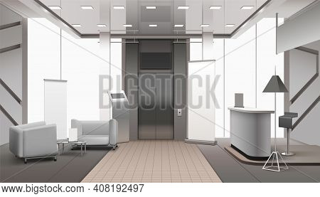 Realistic Grey Color Lobby Interior With Lift, Reception Counter, Waiting Area, Tiled And Carpet Flo
